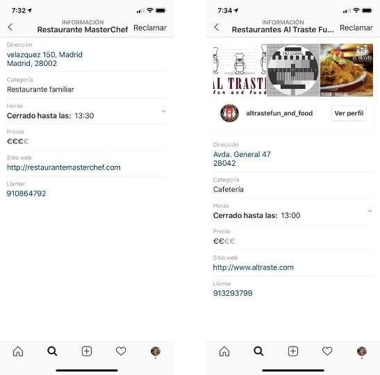 Comparación de dos cuentas de Instagram