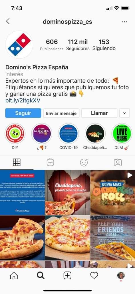 Cuenta de dominos con una bio interesante en Instagram