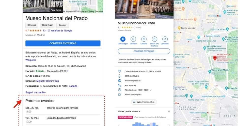Eventos que se muestran en el knowledge panel pero no en Google Maps