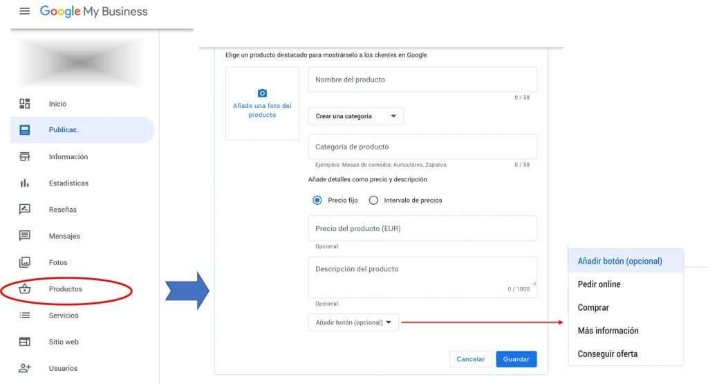 Acceso a la funcionalidad de Producto desde el panel de control de Google My Business