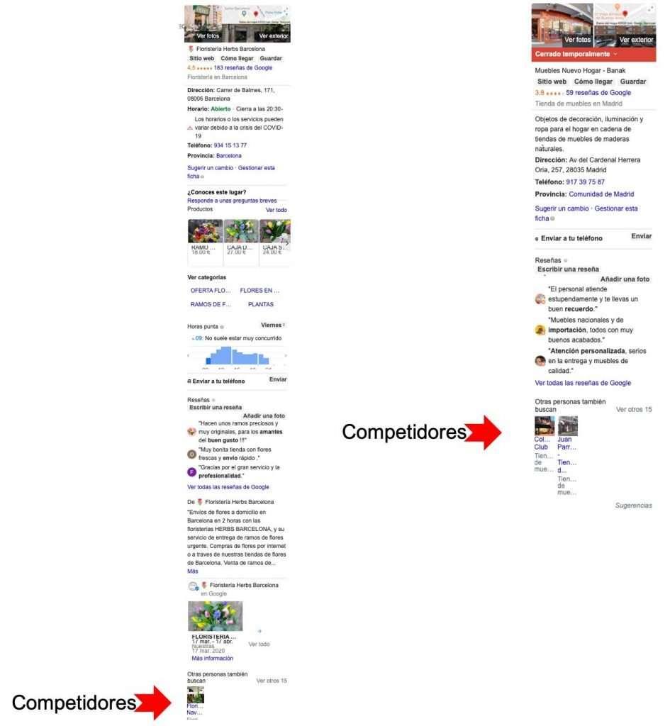 Haciendo menos visible la info de competidores con la funcionalidad de producto de Google My Business