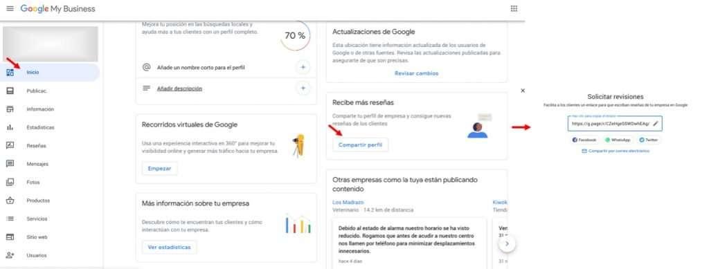 Pasos para conseguir la URL de las reseñas en Google My Business