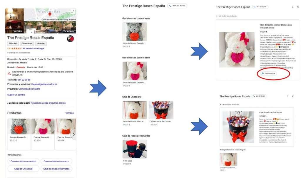 Floristería  implantación de la funcionalidad de producto de Google My Business