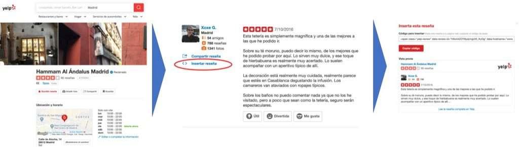 Insertar reseña de Yelp en tu página Web