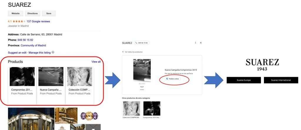 Implantación funcionalidad de producto de Google My Business por parte de la Joyería Suárez
