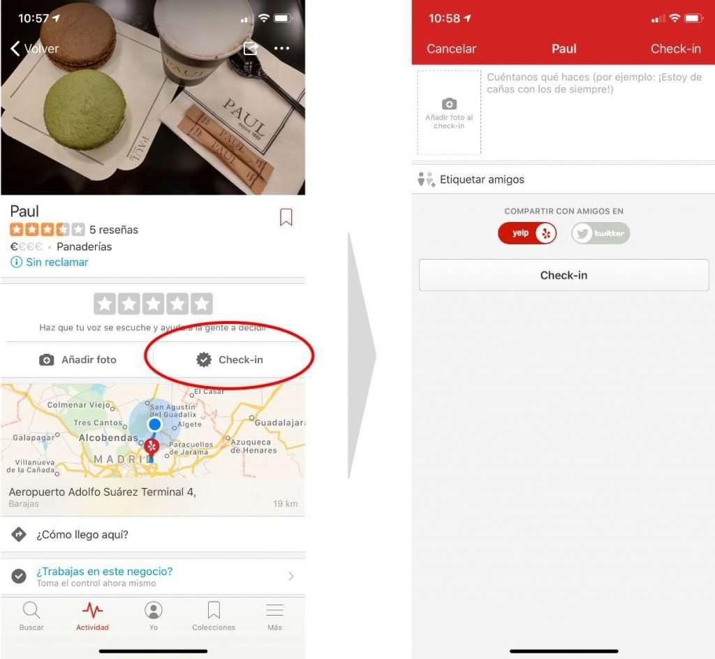 Cómo se hace check-in en Yelp por parte del usuario