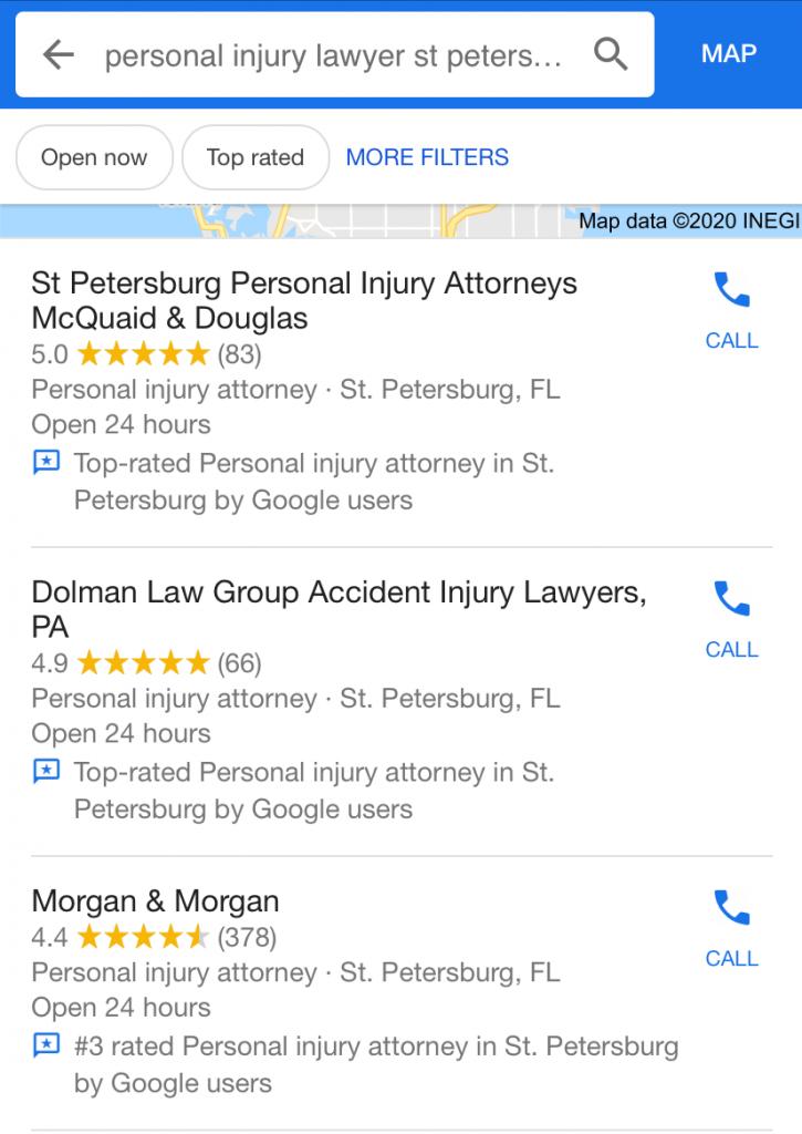 Google My Business prima la valoración frente a la calidad de las reseñas como se observa en el local pack