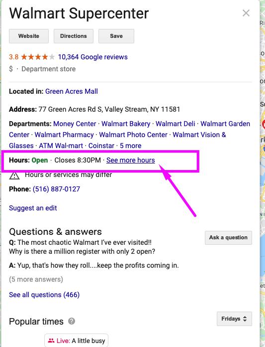 Google my Business ofrece la posiblidad de horarios secundarios a los negocios locales
