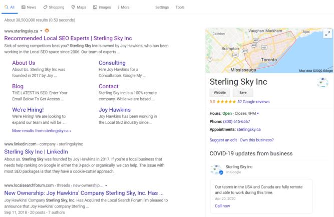 Google my Business prioriza post de COVID-19 en ordenador