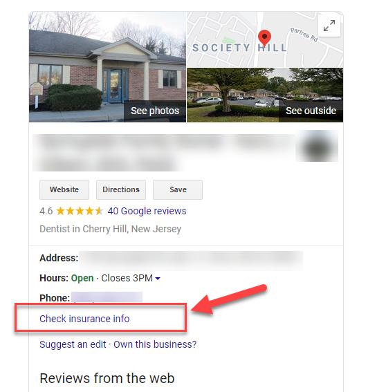 Información de aseguradoras en el knowledge panel de Google my Business