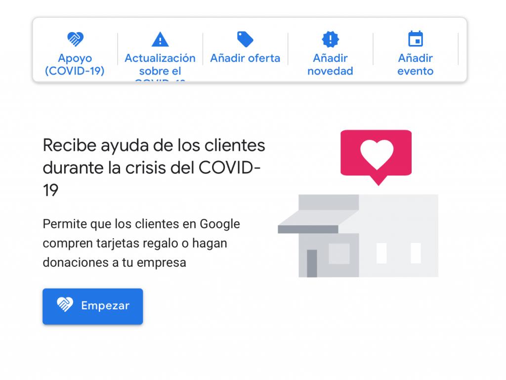 Petición ayuda para COVID-19 en Google My Business