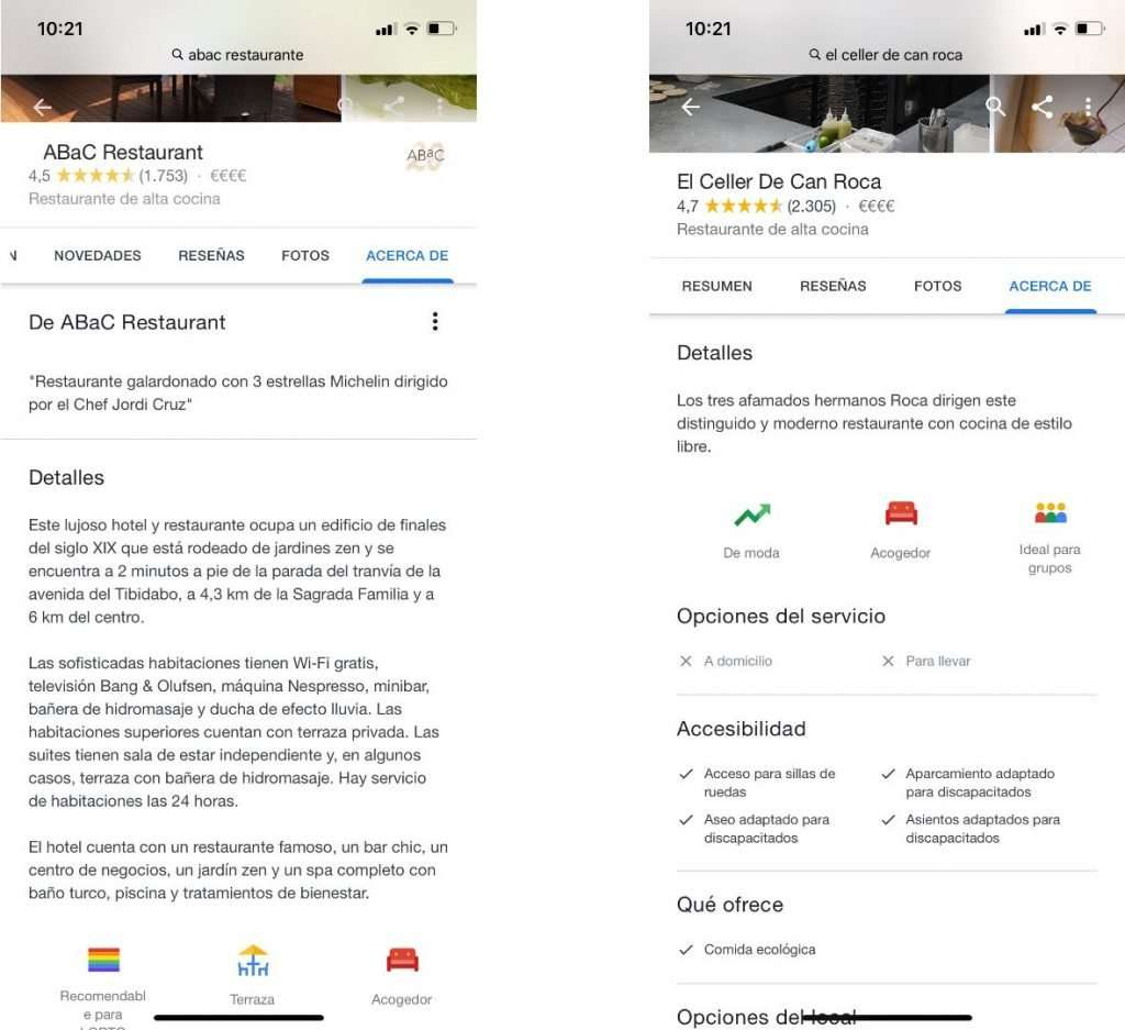 Restaurantes sin estrella en Google My Business