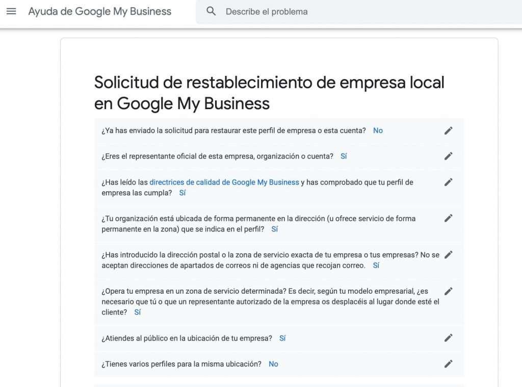 Solicitud de restablecimiento de Empresa local en Google My Business (1 de 4)