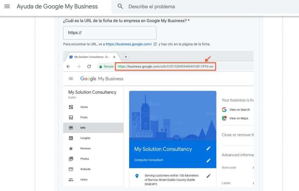 Solicitud de restablecimiento de Empresa local en Google My Business (4 de 4)