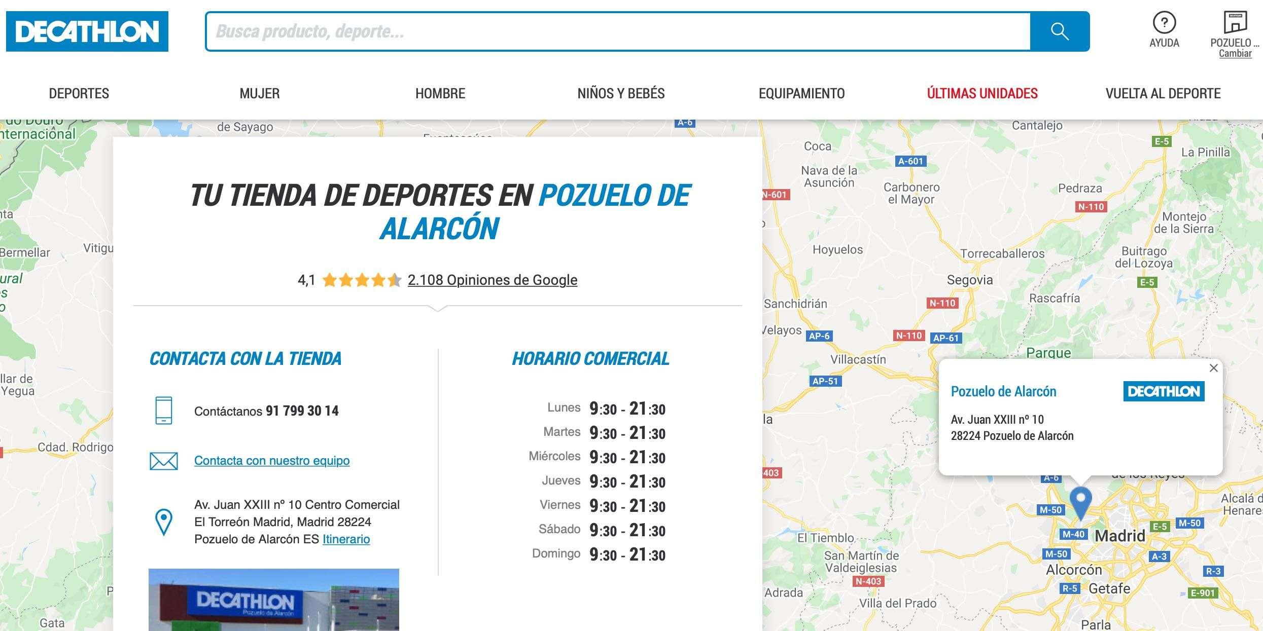 Página de Localización de Decathlon