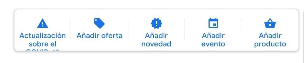 Tipo de publicaciones posibles en Google My Business