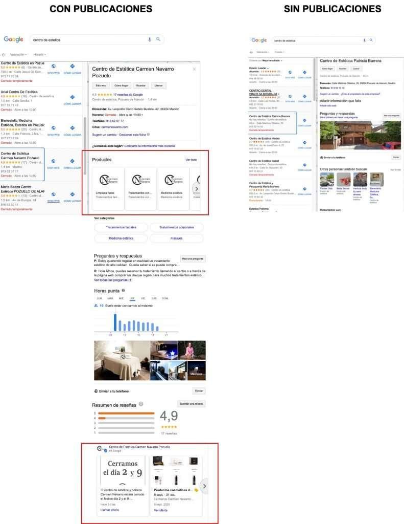 centros de estética con publicaciones en la ficha de Google My Business