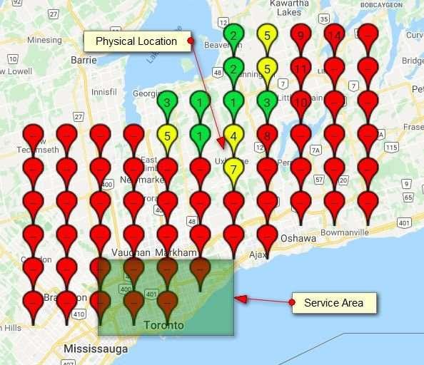 Diferencias de posicionamiento entre localización física y área de servicio