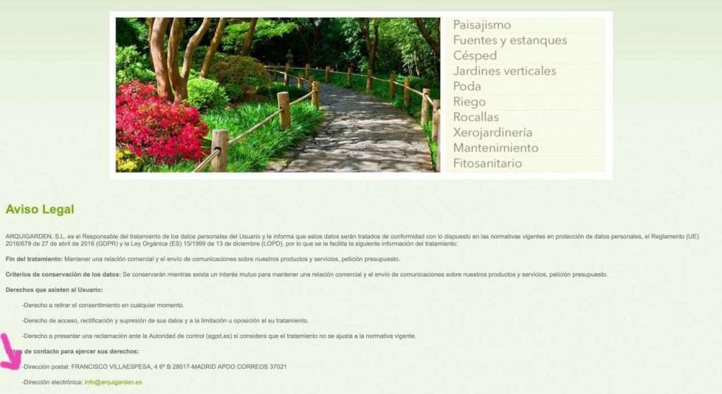 Dirección postal de Arquigarden