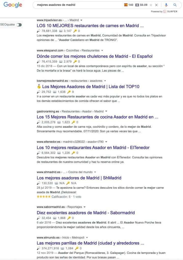 Resultados de búsqueda de mejores asadores de madrid