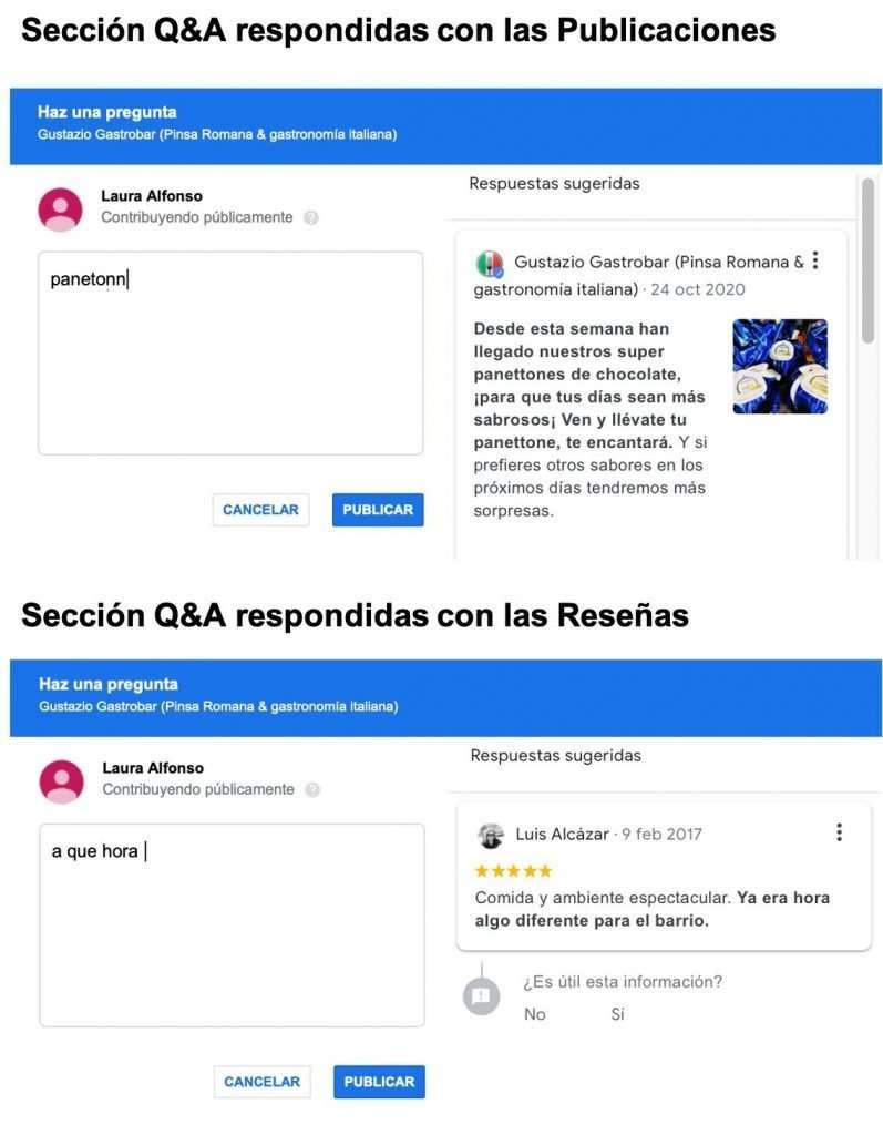 Sección de Q&A respondidas con publicaciones y reseñas