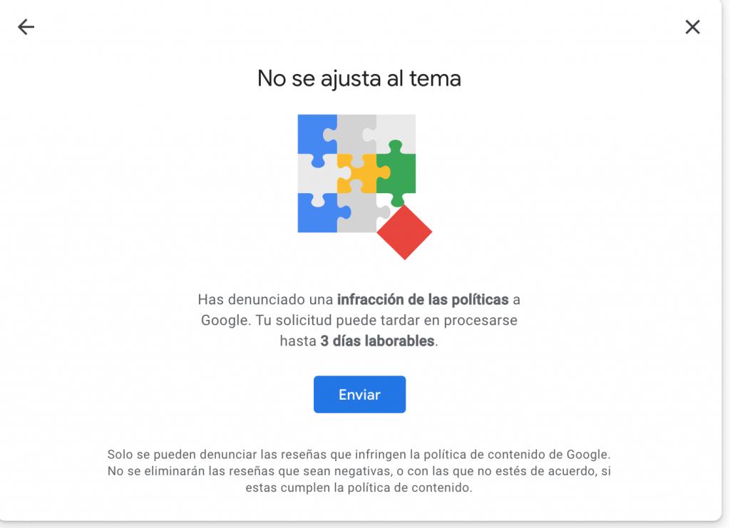 Aviso del tiempo que le llevará a Google la gestión de tu reseña reportada