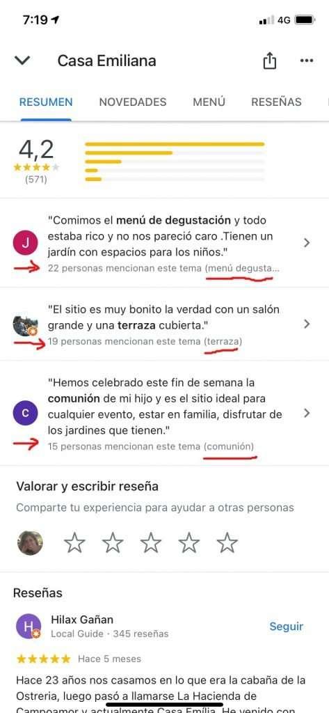 Reseñas basadas en los Place topics en Google Maps