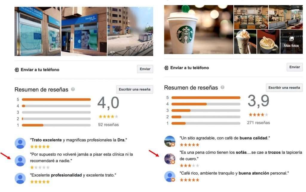 Resumen de reseñas en google en la ficha de google my business de un negocio