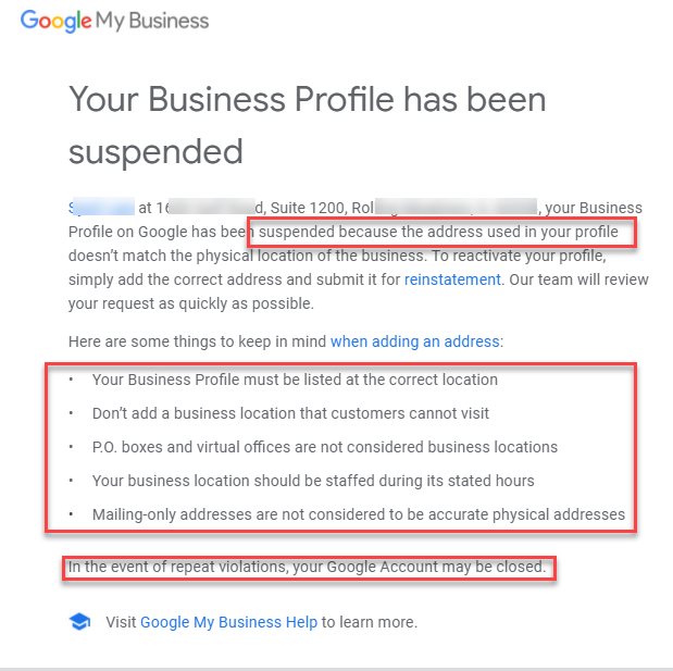 Suspensiones informadas en Google My Business