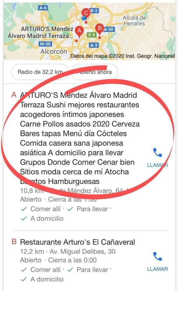 ejemplo de keyword stuffing en la ficha de Google My Business #stopcraponthemap