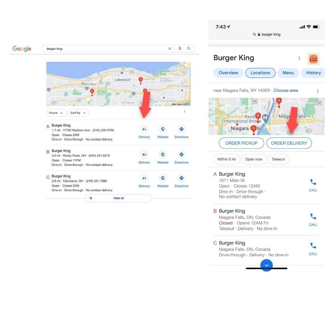 Google My Business con botón de entrega a domicilio con Burguer King