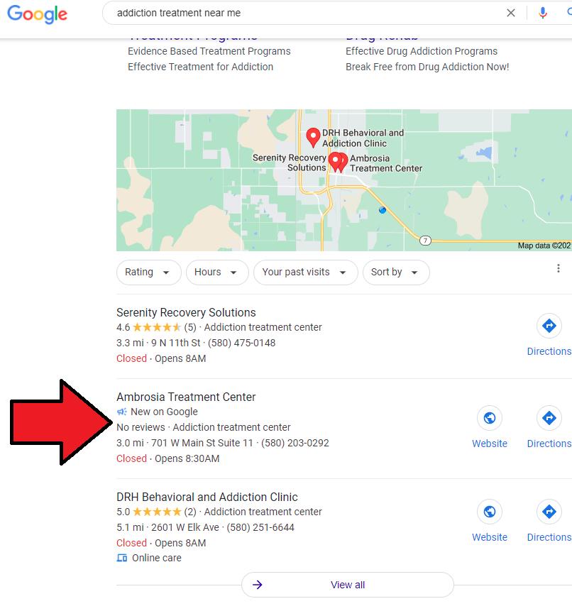 Feature snippet en forma de megáfono para identificar nuevas fichas en Google My Business, con un periodo de vida inferior a 60 días