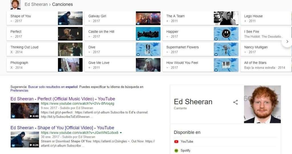 Rich snippets música de Ed Sheeran
