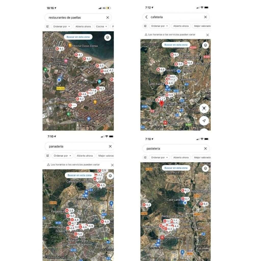 Visualización de reseñas en los pins de geolocalización en negocios de restauracion