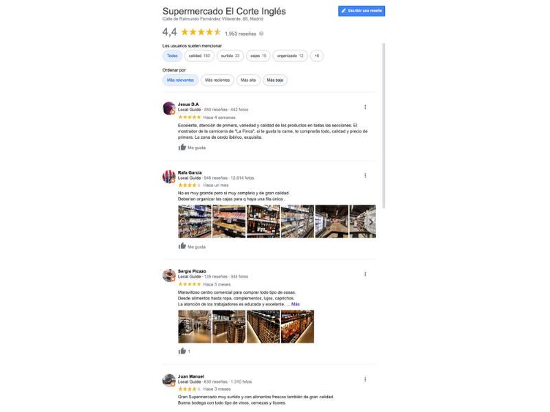 Detalle de las reseñas en un negocio local como supermercado del corte inglés