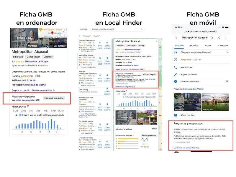 Visualización de la sección de Q&A en las fichas de GMB
