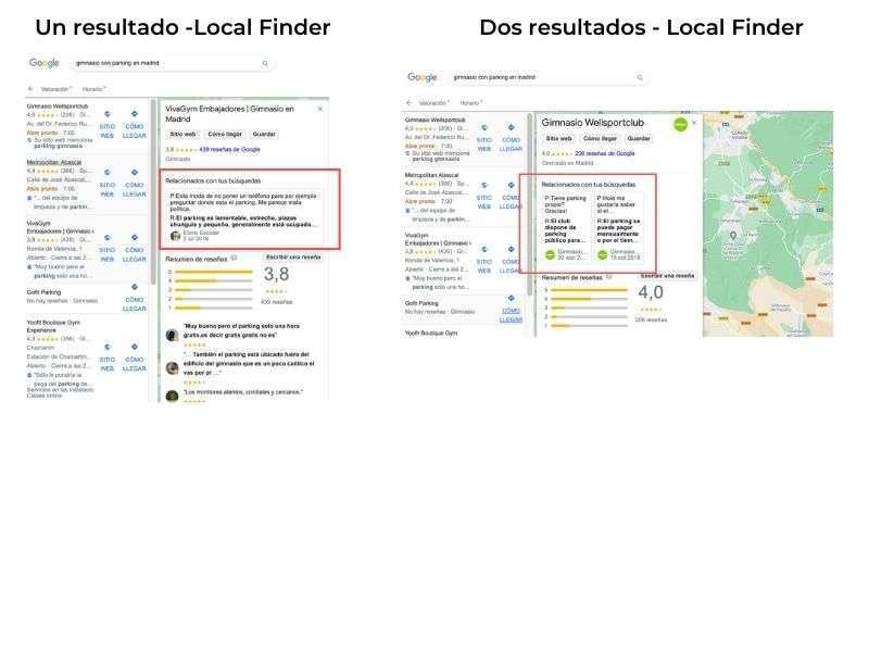 Visualización de los resultados de Q&A en GMB cuando están relacionados con la búsqueda en Local Finder