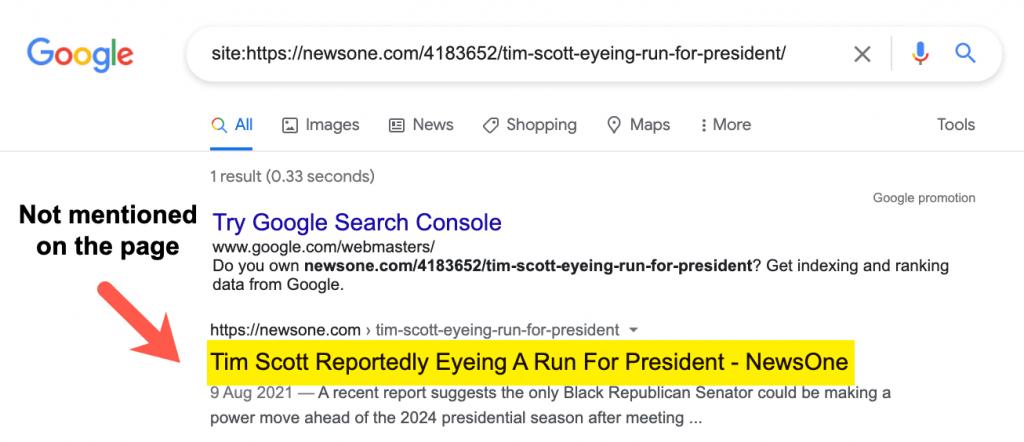 Titulo mostrado en los resultados de Google que no coincide con el titulo en el html