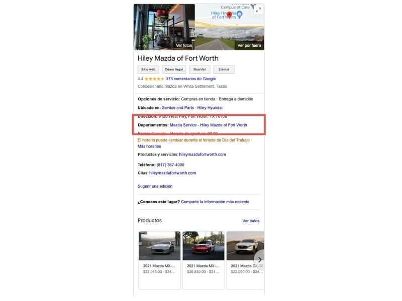 Departamentos concesionario de coches