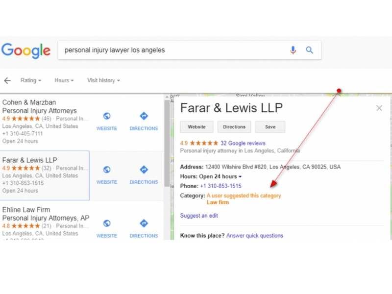 Edición de un usuario a una ficha de Google My Business vista desde el local finder.