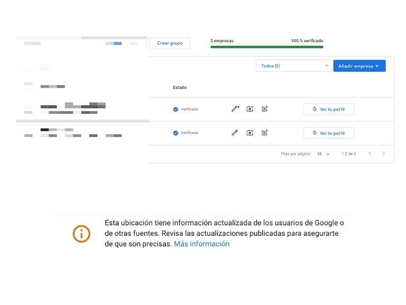 Edición de una ficha informada por Google desde el panel de Administración con un punto rojo al lado del lápiz.